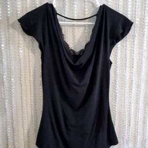TEMPTED Women's Black&Silver Sequin Blouse Small